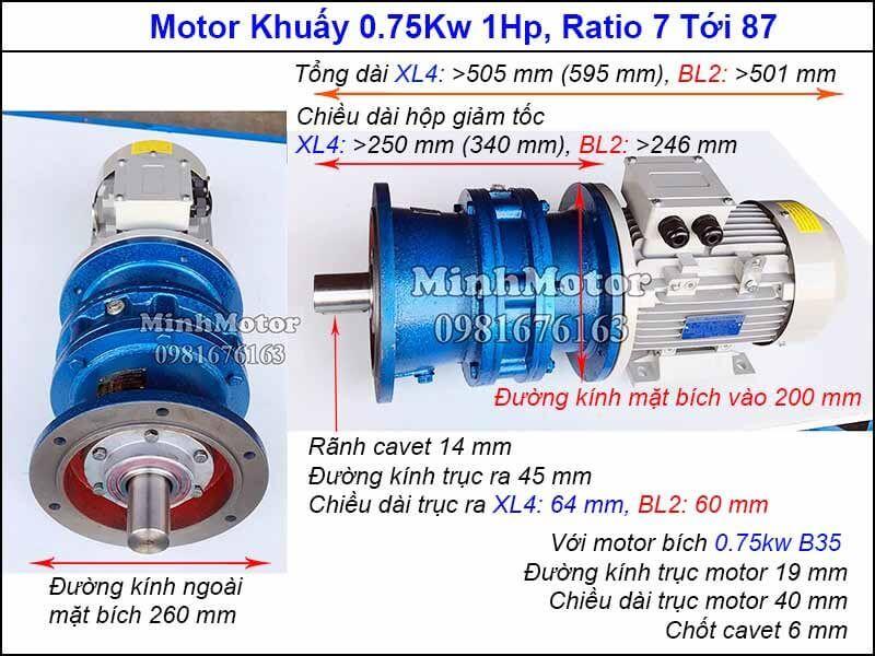 Motor khuấy mặt bích 3 pha 380v 0.75Kw 1HP