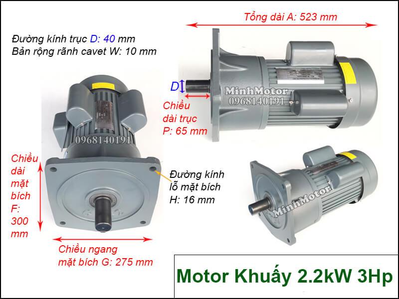 Motor khuấy 1 pha 220V 2.2KW 3Hp