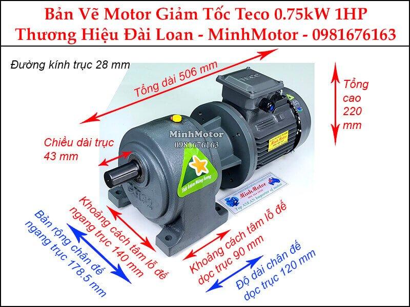 Motor Teco giảm tốc Đài Loan chân đế 0.75KW 1Hp