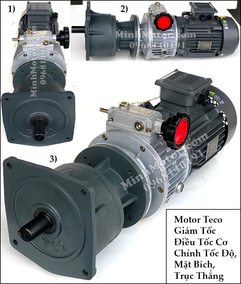 Motor Teco giảm tốc điều tốc cơ chỉnh tốc độ, mặt bích, trục thẳng