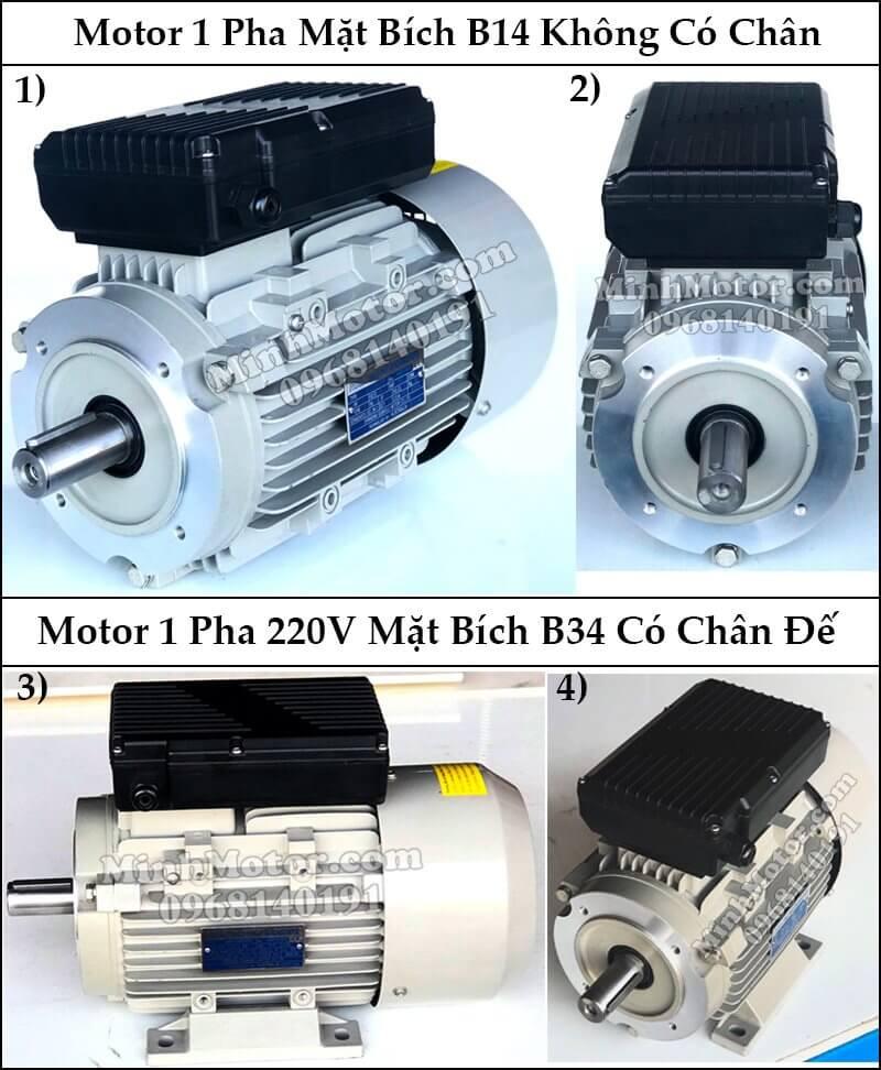 Động cơ điện 1 pha B14 mặt bích