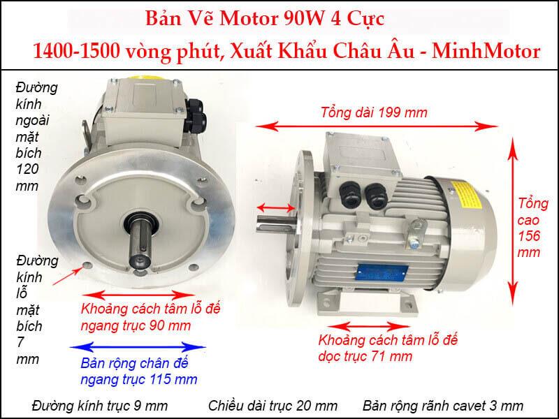 motor 3 pha 0.09Kw 4 pole