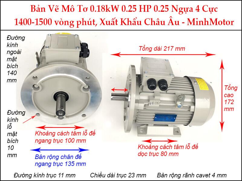 Motor 3 pha 0.18Kw 0.25Hp mặt bích 4 pole