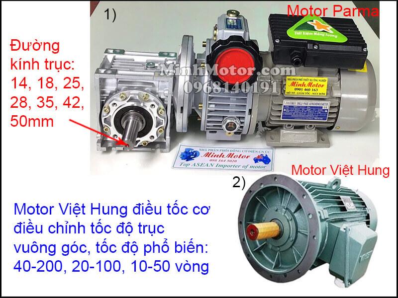Động cơ Việt Hung mặt bích chỉnh tốc độ trục vuông góc