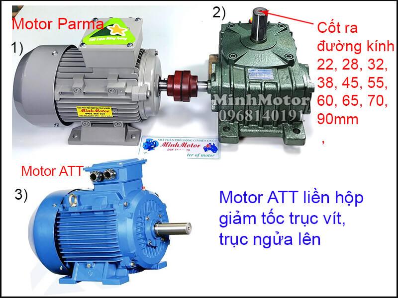 Motor ATT chân đế lắp đặt bằng khớp nối