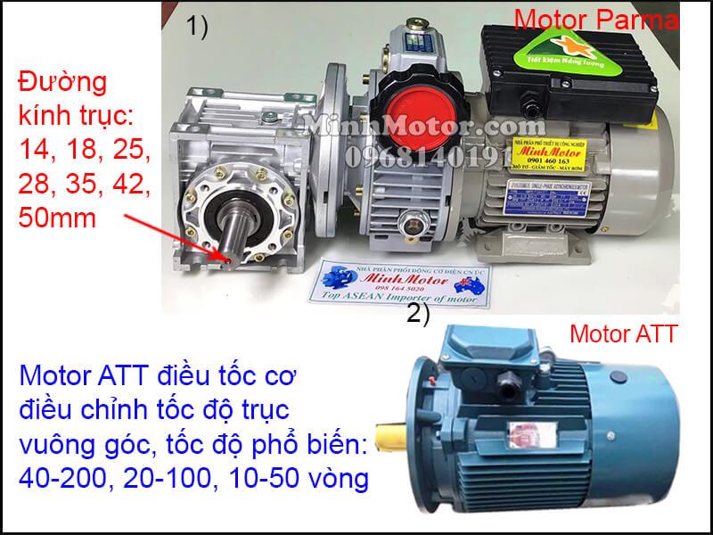 Động cơ ATT mặt bích chỉnh tốc độ trục vuông góc