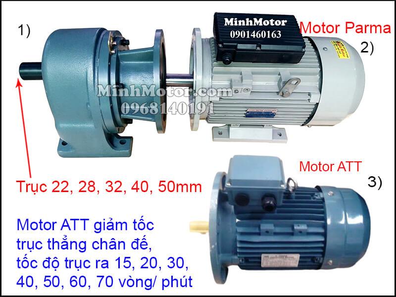 Motor ATT chân đế gắn hộp số trục thẳng