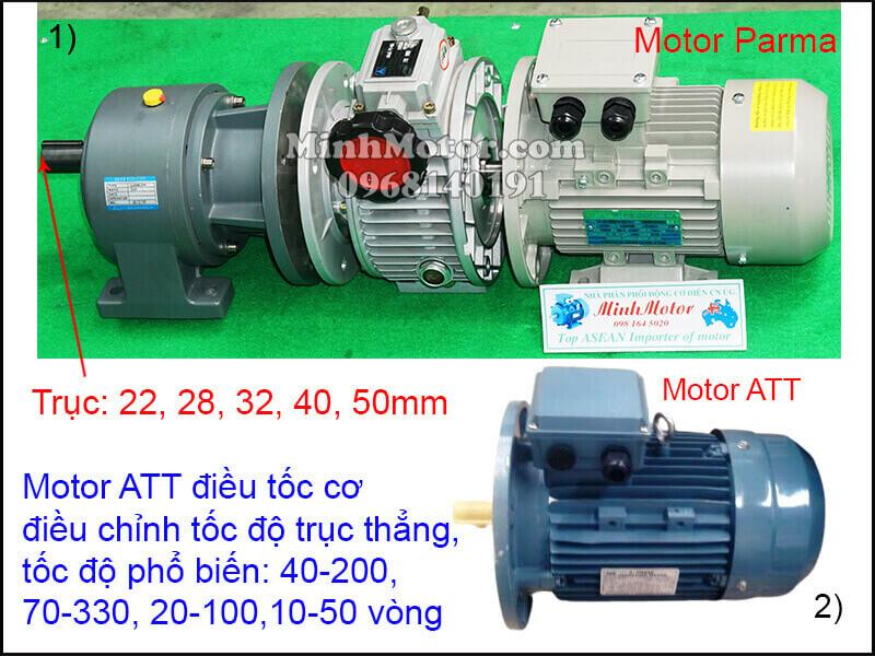 Động cơ ATT mặt bích chỉnh tốc độ trục thẳng