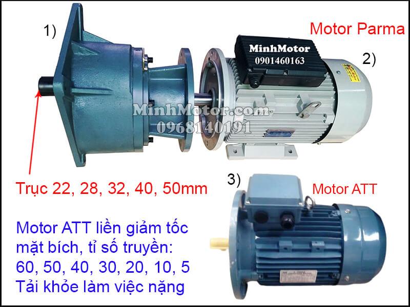 Motor ATT mặt bích gắn hộp số trục thẳng