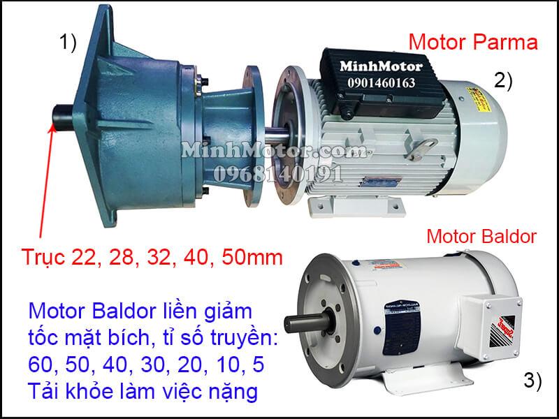 Motor Baldor mặt bích gắn hộp số trục thẳng