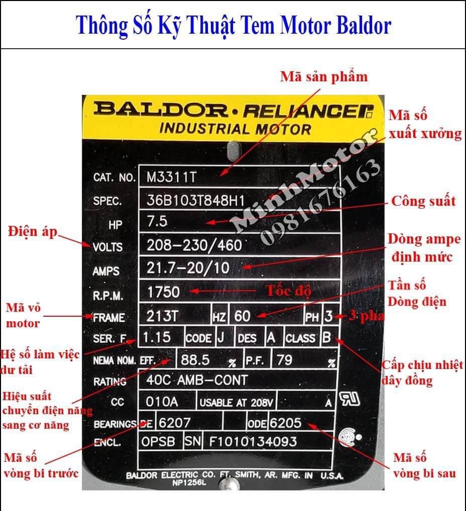 Thông số kỹ thuật tem motor Baldor