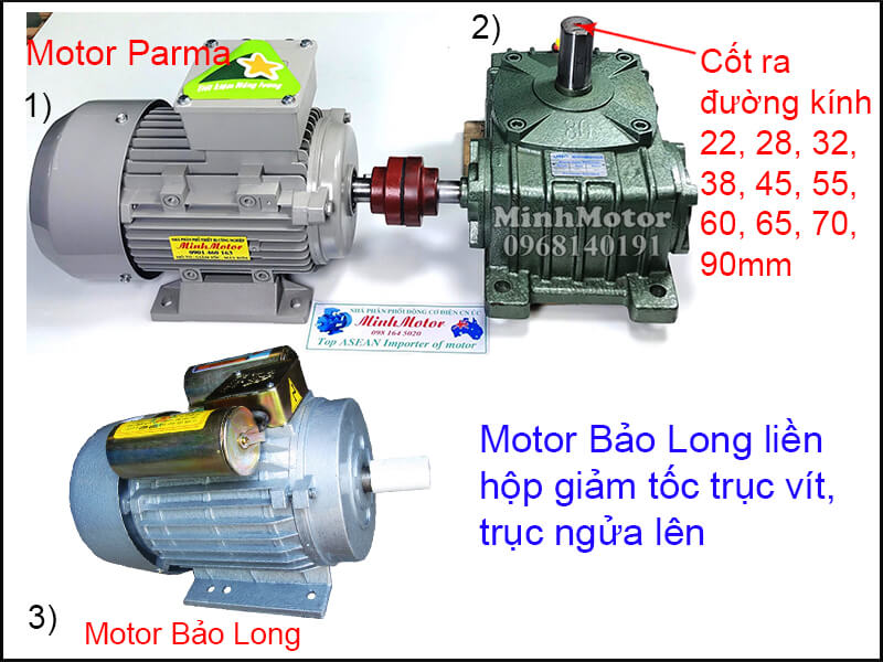 Motor Bảo Long 3 Pha chân đế lắp đặt khớp nối