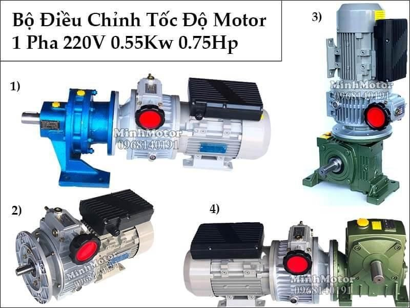 Motor 1 pha gắn bộ chỉnh tốc độ, ra 5 vòng tới 1000 vòng, tùy ý