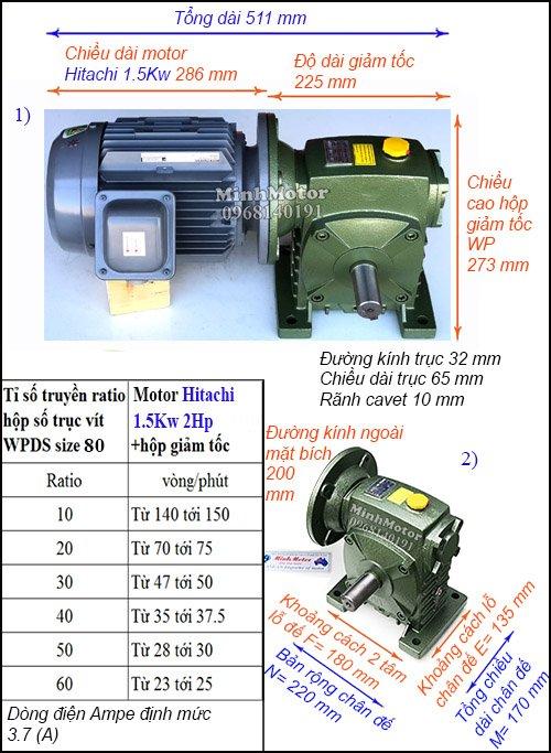 Động cơ Hitachi trục ra vuông góc trục vào