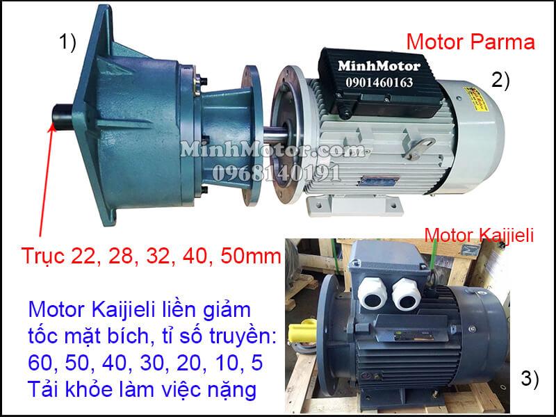 Motor Kaijieli mặt bích gắn hộp số trục thẳng