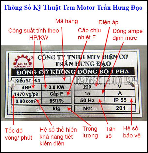 Tem mác thông số motor Trần Hưng Đạo