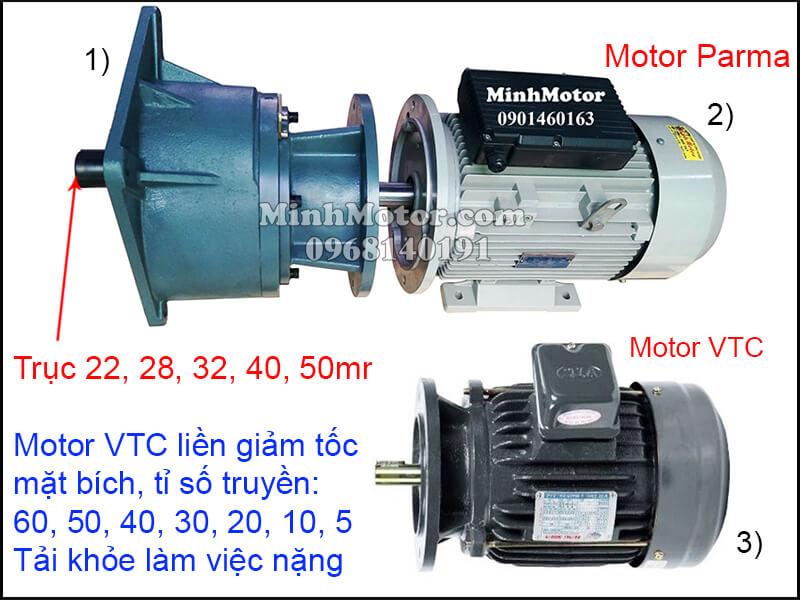 Motor VTC mặt bích giảm tốc trục thẳng