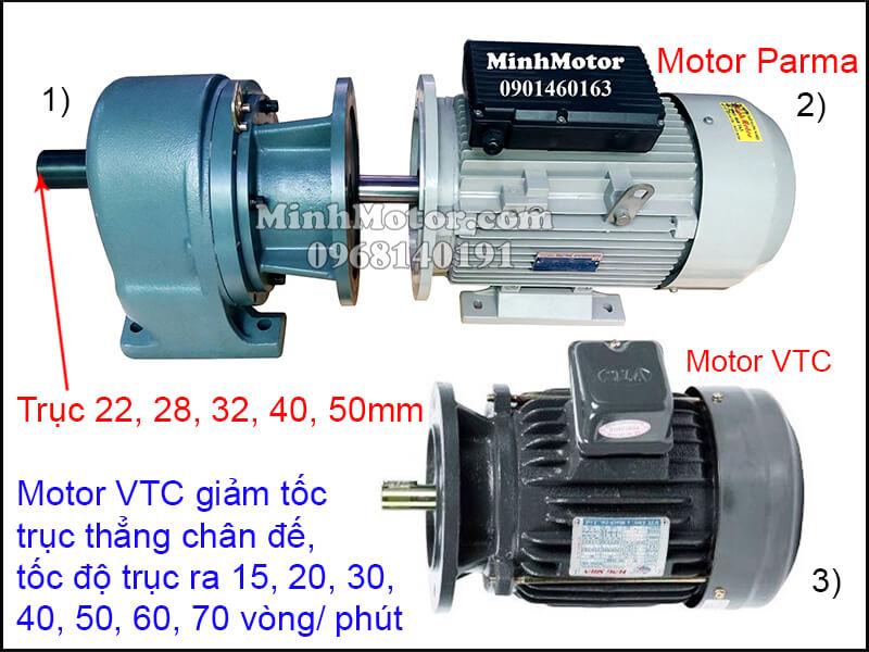 Motor VTC chân đế giảm tốc trục thẳng