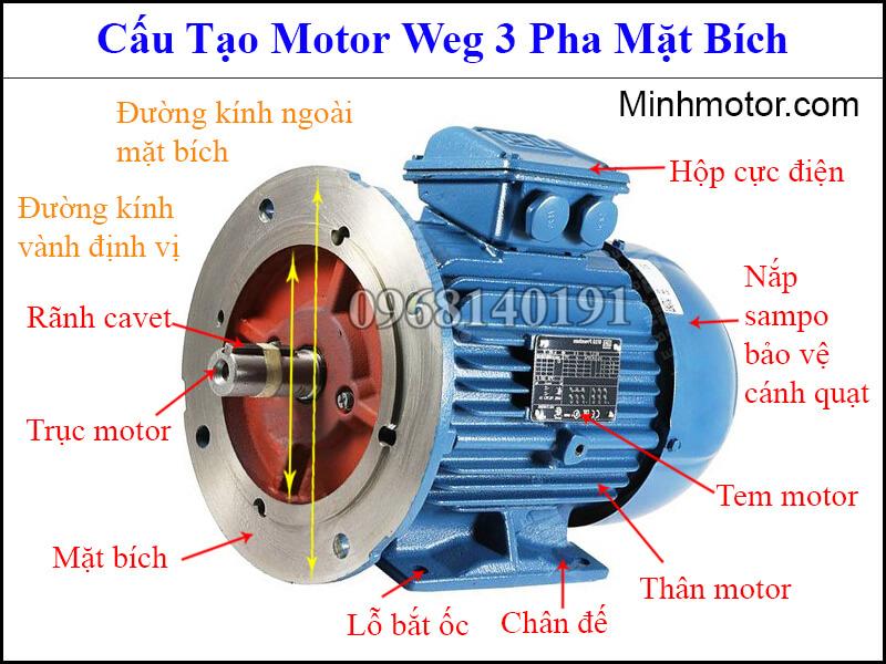 Cấu tạo motor Weg 3 pha mặt bích