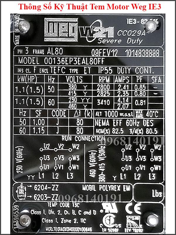 Thông số kỹ thuật motor Weg IE3