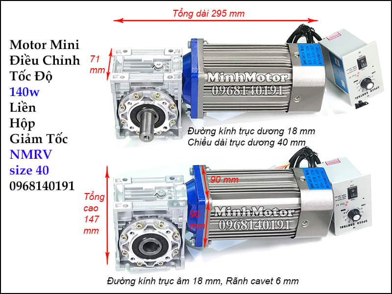 Motor giảm tốc mini lắp hộp số Rv