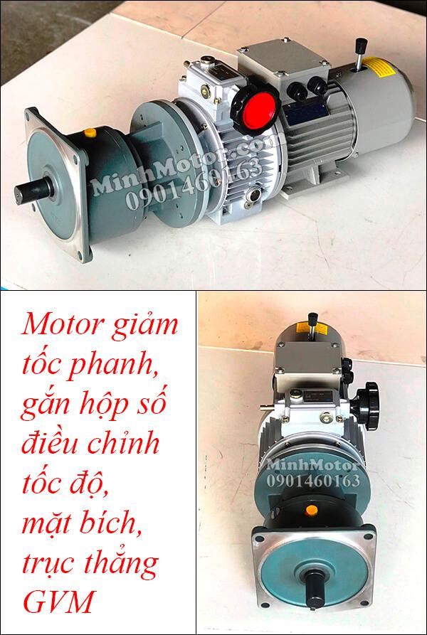 Motor giảm tốc phanh, gắn hộp số điều chỉnh tốc độ, mặt bích, trục thẳng GVM