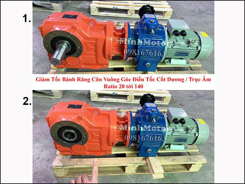 motor giảm tốc tải nặng 2 cấp trục ra vuông góc