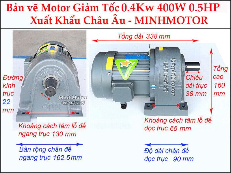 Motor 0.4kw hộp số chân đế trục 22 mm