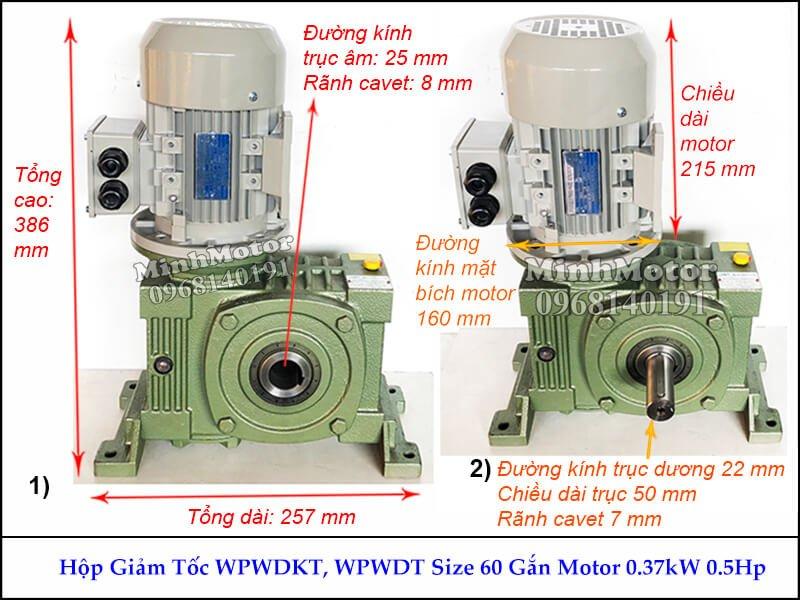 motor 0.4kw úp tư thế V1 vào hộp số cốt âm