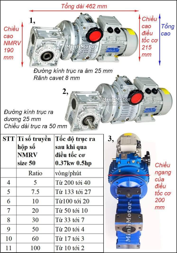 Motor giảm tốc 0.4kw điều chỉnh tốc độ RV