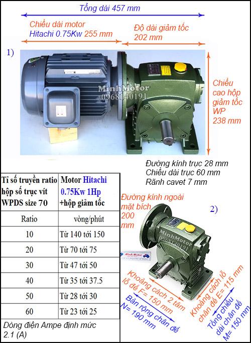 Kích thước motor giảm tốc Hitachi 0.75Kw 1Hp cốt dương WPDS size 70