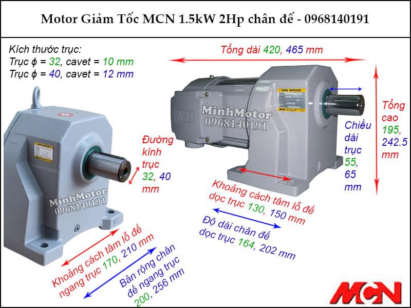 Bản vẽ motor giảm tốc MCN NL chân đế 1.5Kw 2Hp