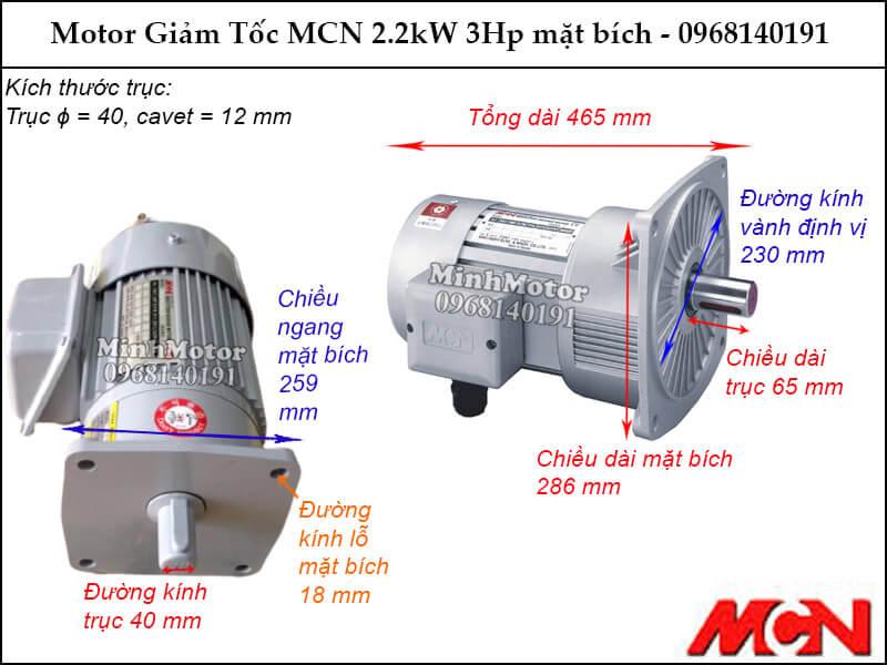 Kích thước lắp đặt động cơ giảm tốc MCN NF mặt bích 2.2Kw 3Hp
