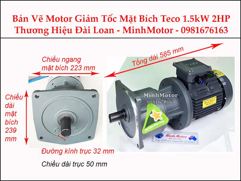 Bản vẽ Motor giảm tốc Teco 1.5Kw 2Hp Đài Loan mặt bích