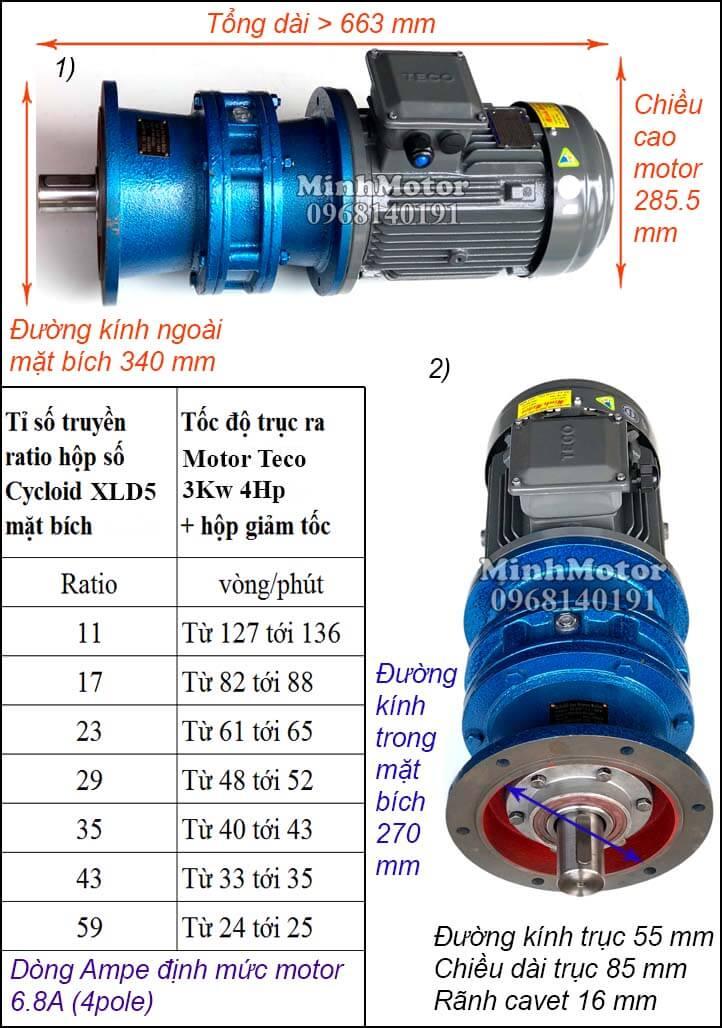 Bản vẽ thông số motor Teco 3Kw 4Hp hộp số cyclo trục ngang XLD 5 mặt bích