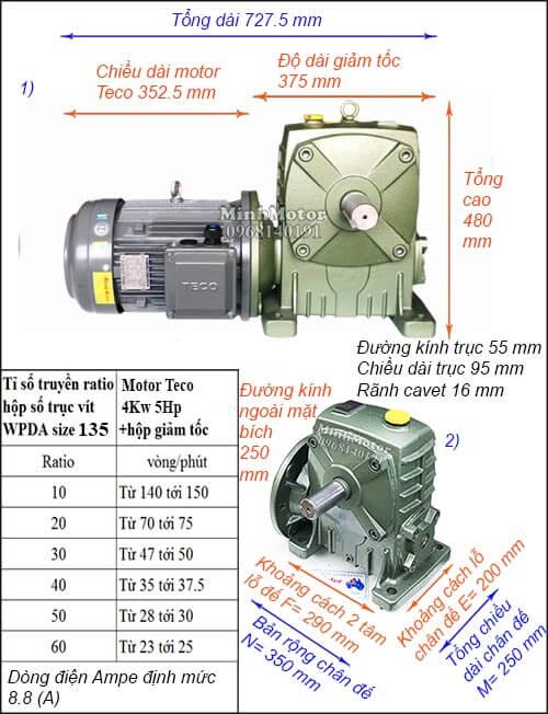 Kích thước motor hộp số Teco 4Kw 5Hp cốt dương size 135