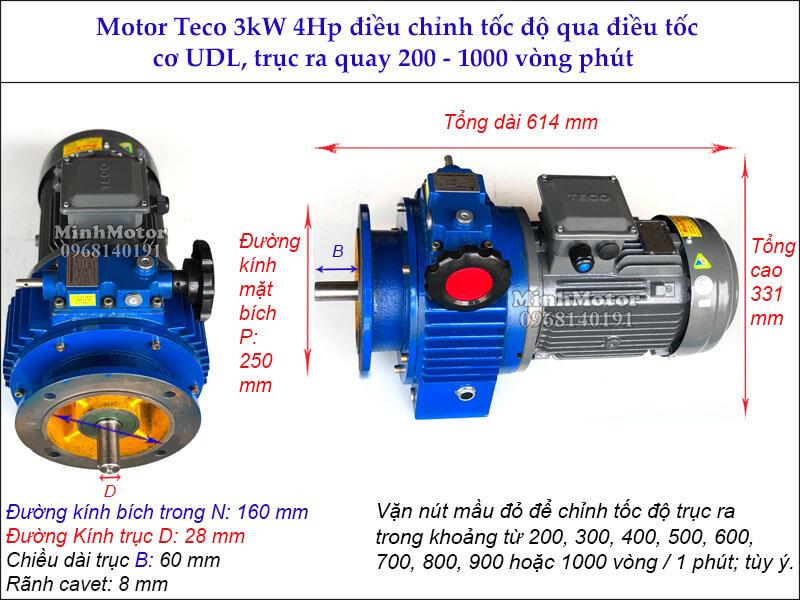 Thông số kỹ thuật motor điều tốc teco 3Kw 4Hp