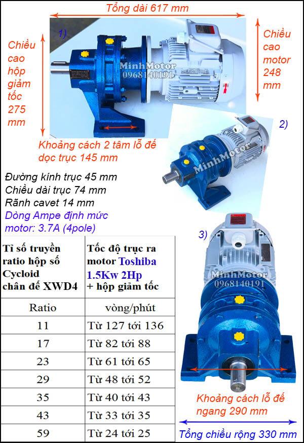 Thông số motor Toshiba 1.5Kw 2Hp giảm tốc cycloid trục thẳng X4