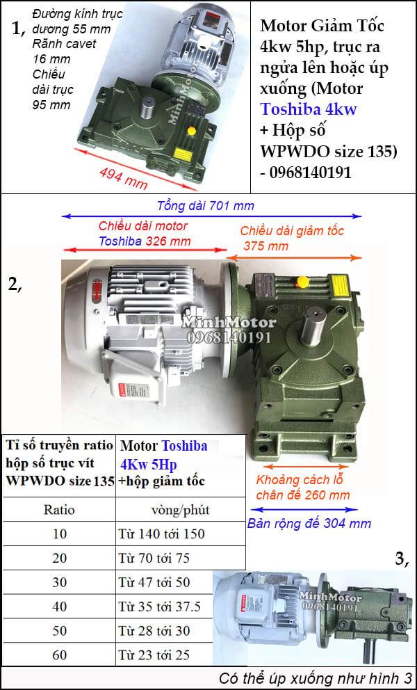 Kích thước lắp đặt bộ giảm tốc Toshiba 4Kw 5Hp trục ngửa úp size 135