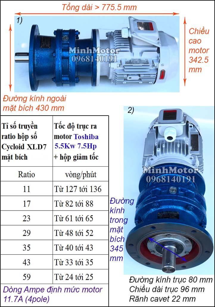 Thông số motor Toshiba 5.5Kw 7.5Hp giảm tốc cycloid trục thẳng XL7 mặt bích