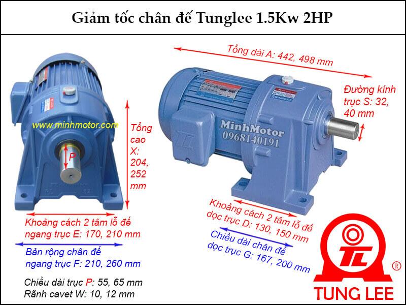 Motor giảm tốc Tunglee chân đế PL 1.5Kw 2Hp