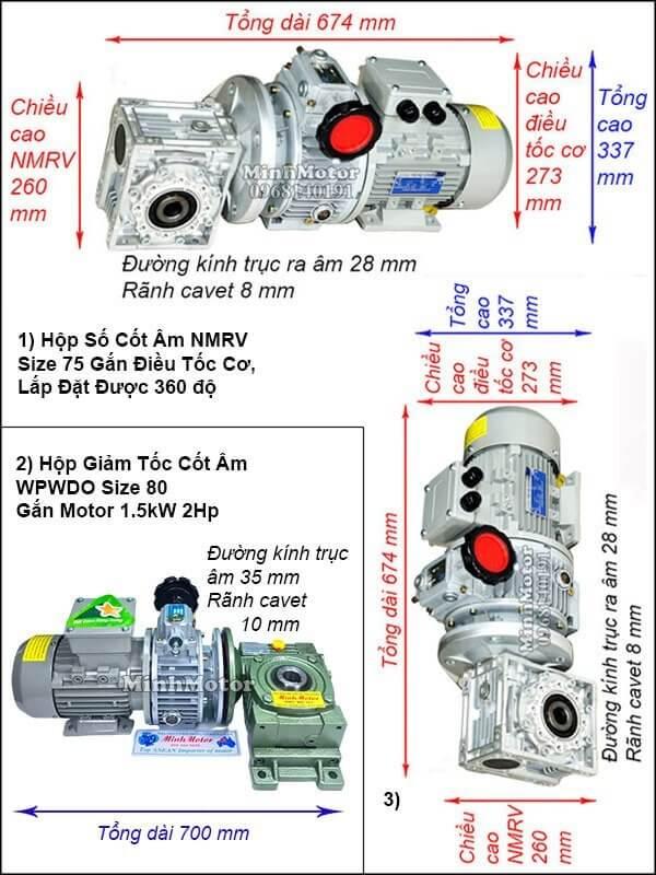 Động cơ trục vít cốt âm chỉnh tốc độ