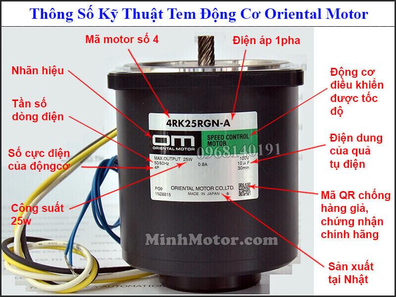 Tem động cơ Oriental Motor