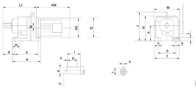 Bản vẽ hình học Motor Giảm Tốc 15KW 20HP