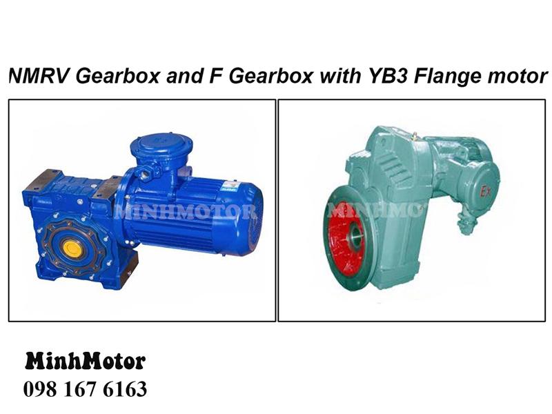 Giảm Tốc Phòng Nổ Kiểu F – Động cơ YB3 gắn với hộp số giảm tốc F trục ra song song với trục vào