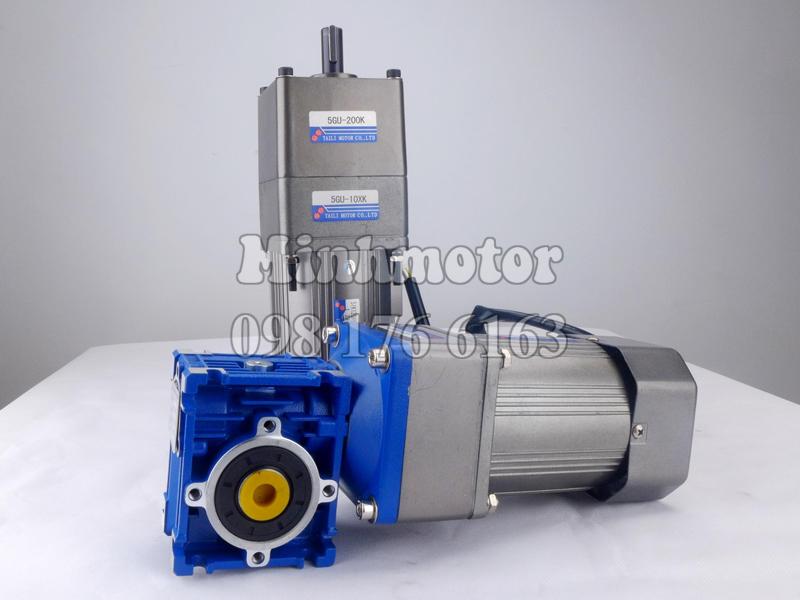 Giảm tốc 2 cấp tốc độ từ motor mini microvà hộp số rv mặt bích vuông cùng hộp giảm tốc tăng cường