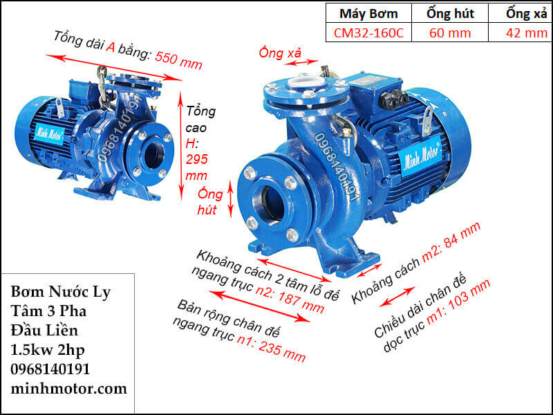 máy bơm nước 3 pha 1.5kw 2hp, 380v