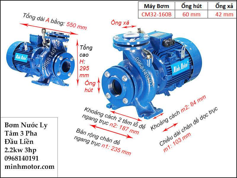 máy bơm nước 3 pha 2.2kw 3hp, 380v