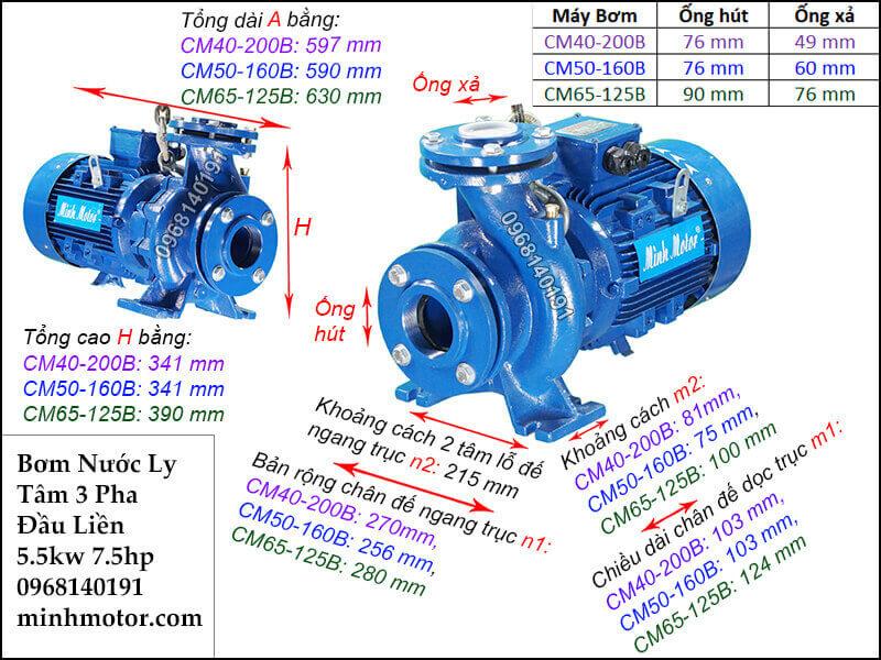 máy bơm nước 3 pha 5.5kw 7.5hp, 380v
