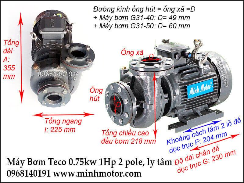 Máy bơm Teco 1hp 0.75kw mới chính hãng, 3 pha ly tâm